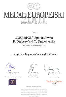 Drabpol, European Medal for Laboratory of Accident Analysis of Tachograph Charts, 2001