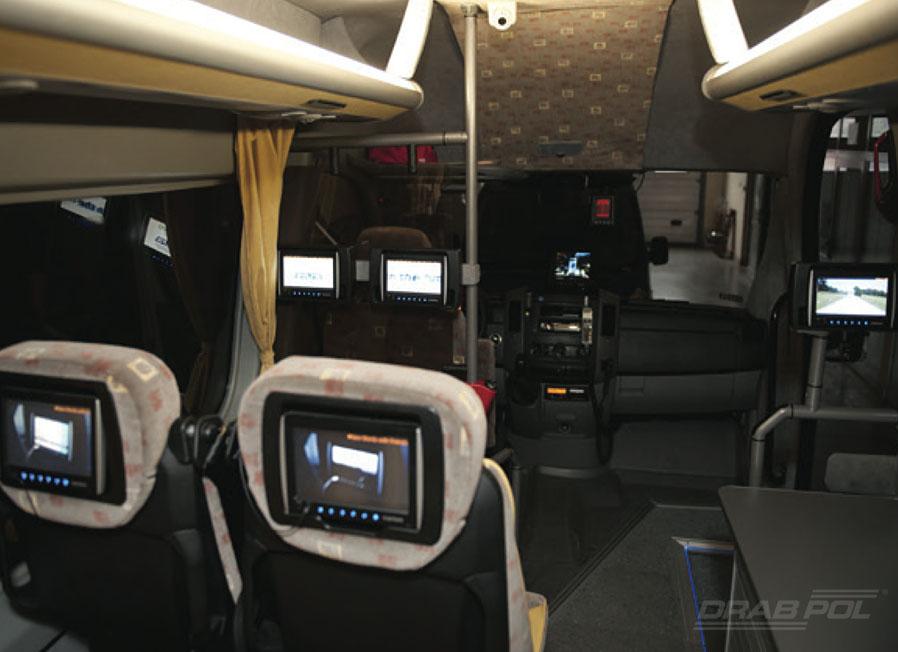 Wnętrze mobilnego Drabpolu, bus prezentacyjny