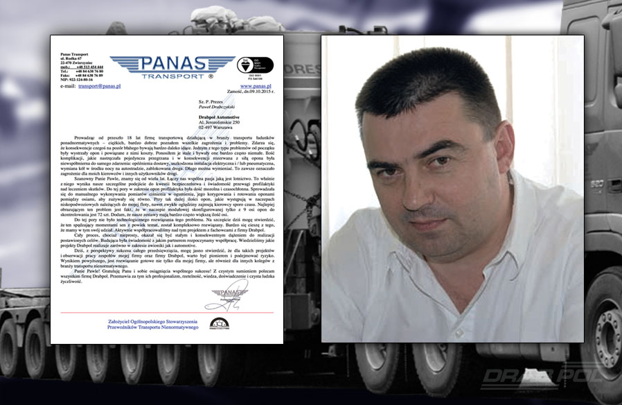 the opinion of the owner of PANAS Transport company on Drabpol's innovative solution